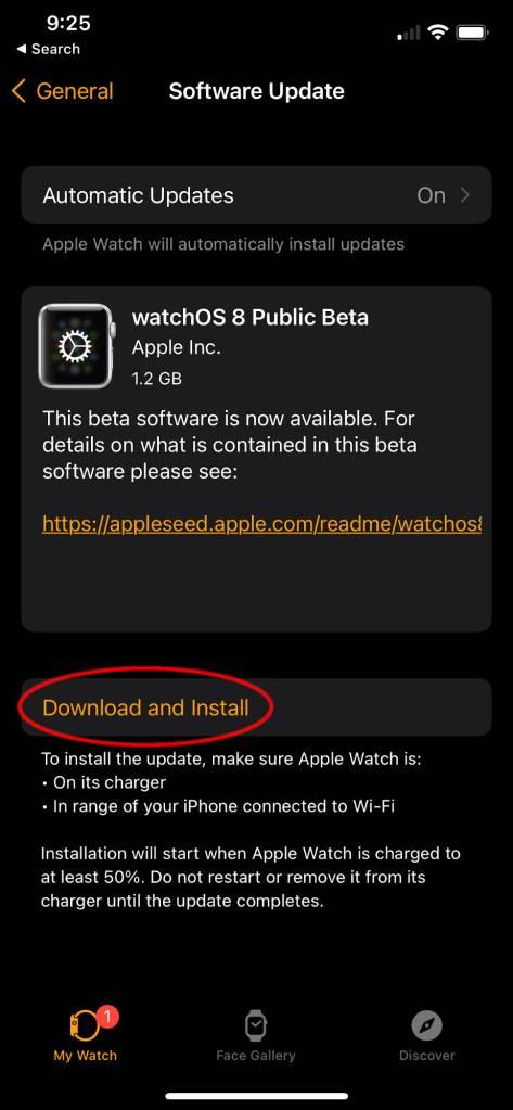 Installing watchOS 8 5