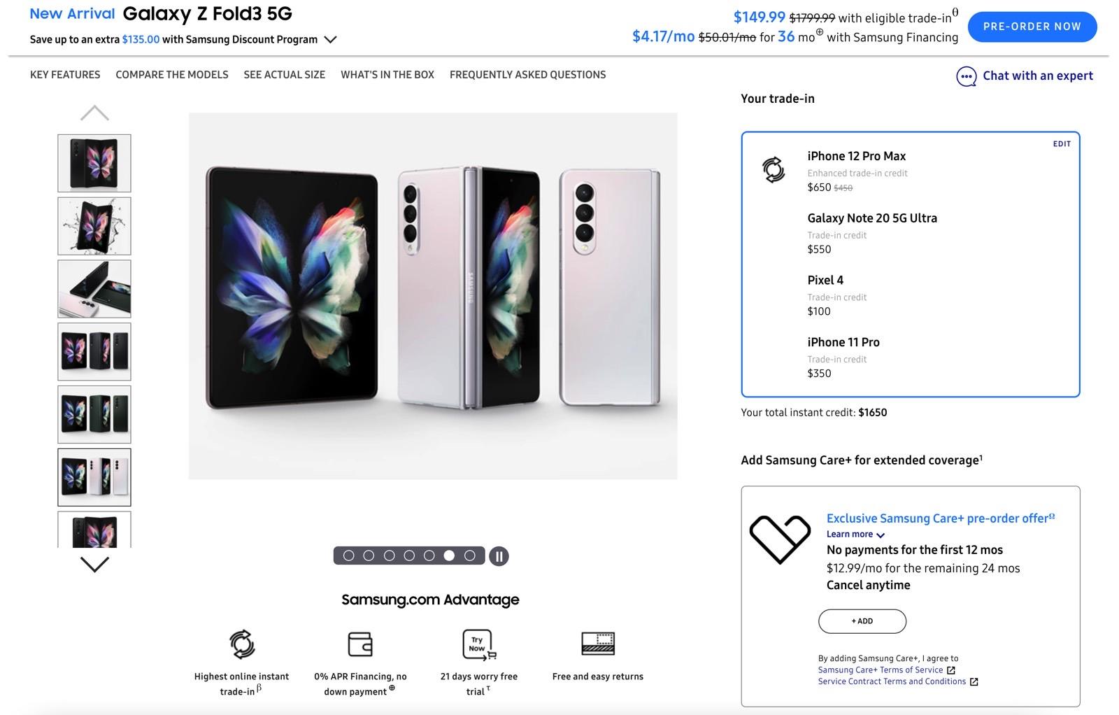 Précommande Galaxy Z Fold 3