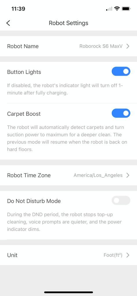 Roborock App Settings