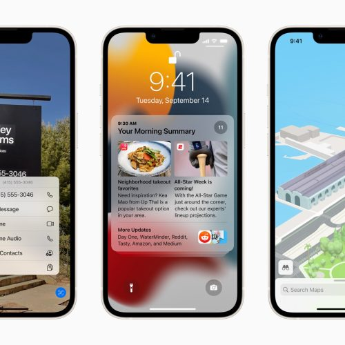 Three Apple iPhones with apps on the screens