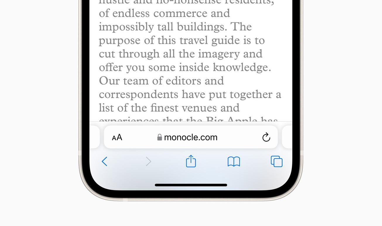 iOS 15 Safari bar