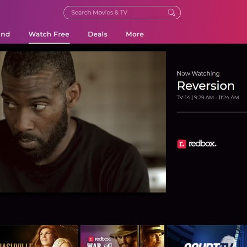 Redbox Live TV interface showing a video
