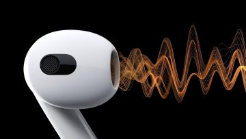 AirPods Pro 2 with an audio waveform from the device on a black background