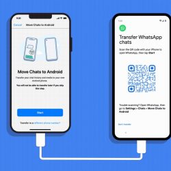 iPhone and Android connected with a USB cable displaying WhatsApp app on the screen